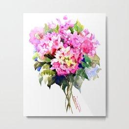 Hydrangea Pink Flowers, Floral pink decor Metal Print