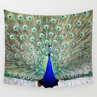 peacock Wall Tapestries featuring Peacock by Whimsy Romance & Fun