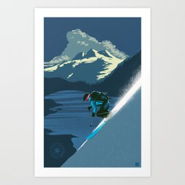 Retro Sunset Alpine Ski Travel Poster Art Print