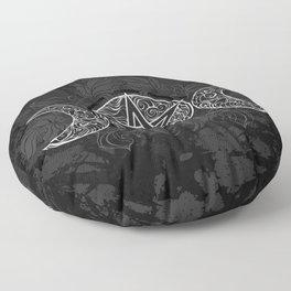 White Pentagram with Leaves Floor Pillow