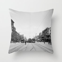 Vintage Canal Street New Orleans Streetcars 1907 Throw Pillow