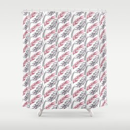 Abstract hand painted pink black tropical fern leaves Shower Curtain