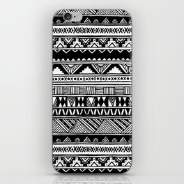 Black White Cute Girly Urban Tribal Aztec Andes Abstract Geometric Hand-drawn Pattern iPhone Skin
