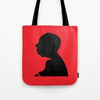 hitchcock Tote Bags featuring Hitchcock by Vincent Caduc
