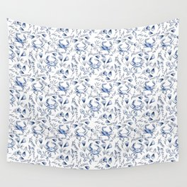 Blue Crabby Wall Tapestry