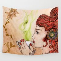 art nouveau Wall Tapestries featuring Tea spirit art nouveau by Pendientera