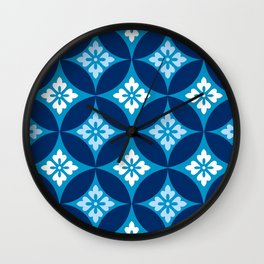 Shippo with Flower Motif, Indigo Blue and White Wall Clock