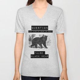 false. black bear Unisex V-Neck