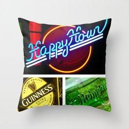 Happy Hour Neon Collage - Bar or Kitchen Decor Throw Pillow