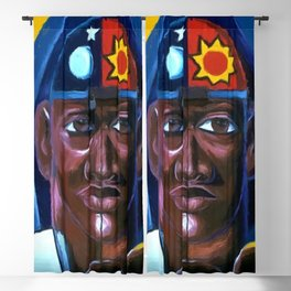 The Key to Love and Peace, African American portrait painting Blackout Curtain