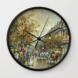 Paris, Autumn Cityscape by Antoine Blanchard Wall Clock