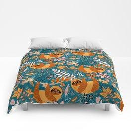 Happy Boho Sloth Floral Comforters