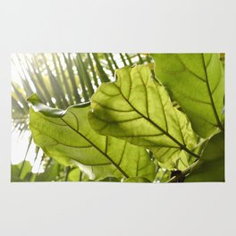 Tropical vibes leaves - Summer Light Rug