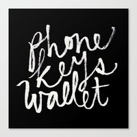 wallet Canvas Prints featuring phone, keys, wallet! by molly ennis