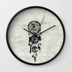 Hipster Lace black dreamcatcher on white wood Wall Clock