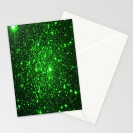 gAlAXy Green Sparkle Stars Stationery Cards