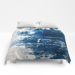 Tranquil: a minimal, abstract piece in blue by Alyssa Hamilton Art Comforters