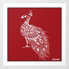 crimson peacock pavo real ecopop Art Print