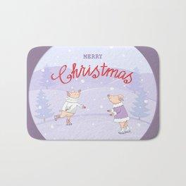 skating couple piggies merry christmas Bath Mat