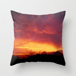 Burning Red Sunrise | Color | Street Photography | Fine Art Photo Print Throw Pillow