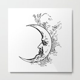 Man On The Moon Crescent Moon Black on White Metal Print