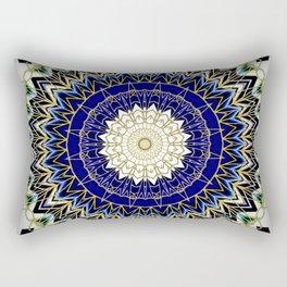 Bohemian Bright Blue and Gold Mandala Rectangular Pillow