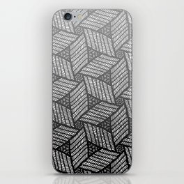 Japanese style wood carving pattern in gray iPhone Skin