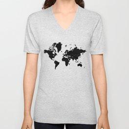 Minimalist World Map Black on White Background Unisex V-Neck