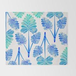 Tropical Palm Leaf Trifecta – Blue Ombré Palette Throw Blanket