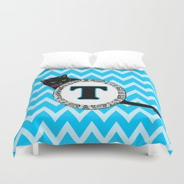T  Cat Chevron Monogram Duvet Cover