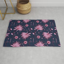 Orchid and navy floral Rug