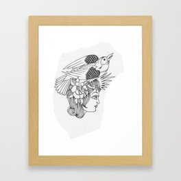 Lady with Bird in Hair Framed Art Print