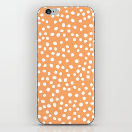 Orange and white doodle dots iPhone Skin