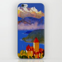 Vintage Spiez Switzerland Travel Poster iPhone Skin