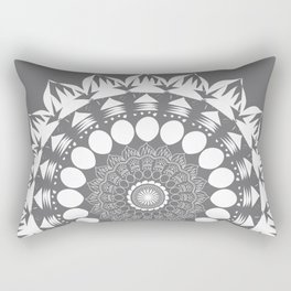 Gray Mandala Rectangular Pillow