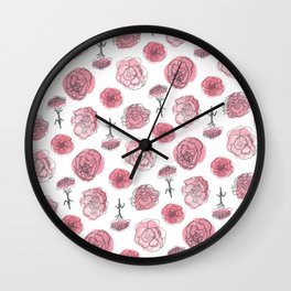 Pink Carnation Pattern Wall Clock
