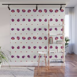 Purple ladybugs separated with dots over light yellow background seamless pattern Wall Mural