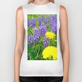 Field of Flowers, Dandelions and Bluebonnets Biker Tank