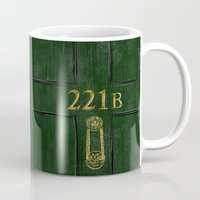 221b Mugs featuring 221B Door by Kristina Moy