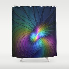 Colorful and Luminous, Abstract Fractals Art Shower Curtain