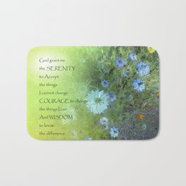 Serenity Prayer Bachelor's Buttons Bath Mat