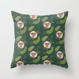 Macaques & Squash (forest green) Throw Pillow