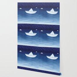 Paper boats illustration Wallpaper