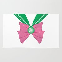 sailor jupiter Area & Throw Rugs featuring Galactic Sailor Jupiter Bow by Valentina Cariel