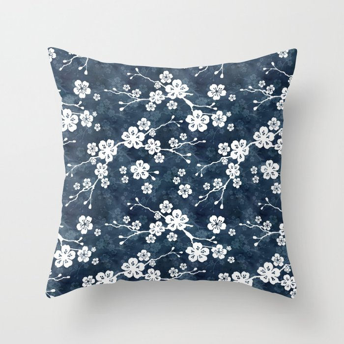 Navy and white cherry blossom pattern Throw Pillow