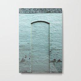 Turquoise Brick Wall Door in Wisconsin Metal Print