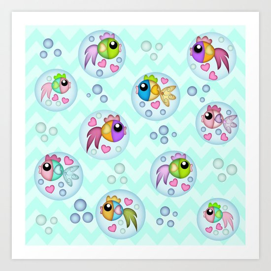 Cute Bubble Fish on a Chevrons water background Art Print