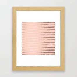 Abstract Stripes Gold Coral Light Pink Framed Art Print
