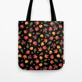 Autumn Leaves Pattern Black Background Tote Bag