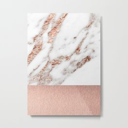 Rose gold marble and foil Metal Print